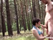Fucking in the Forest! Short Haired Girl Gets Fucked in Risky Voyeuristic Sex Session