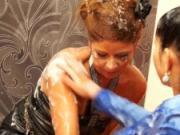 Pornstar Gettin Cute gets bukkake drenched