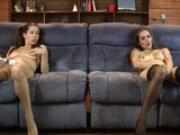 The Lelu Twins double vision mutual masturbating on the couch