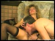 Blonde rubs his inner thigh until he gets hard