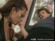 Huge titted brunette fucked really hard