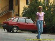 sweet red heat girl peeing in public