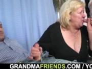 Double penetration for huge grandma