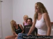 THREE SWINGER WIVES AND ONE LUCKY GUY â?? ORGY SEX