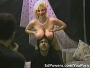 Big-titted momma sucks cock for a facial