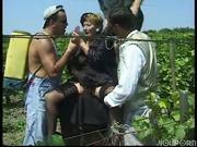 Grandma gets gang banged in the corn fields
