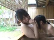 Subtitled Japanese lesbians foreplay in outdoors onsen bath