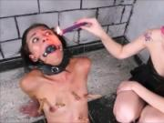 Teen slaves latina BDSM and femdom submissives electro tortured punishment by strict mistress