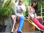 Fetisch-Concept.com - 2 girls with long cast leg visit a flower store part 2