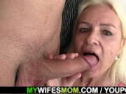Yound dude fucking blonde motherinlaw at kitchen