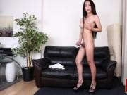 Alluring bigtitted ladyboy tugging cock solo