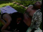 Ebony babe chows down on big chocolate cock