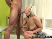 Sloppy blonde blowjob