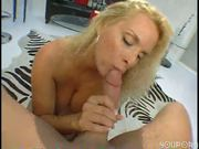 Big booby blonde gets slurpy with it