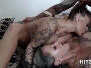HITZEFREI Threesome with two big tit German babes
