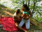Horney babe picks up guy in the park
