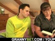 He picks up busty bookworm mature woman