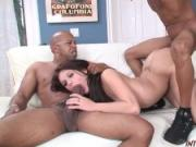 Blue eyed Isabella rampaged by 2 big black cocks