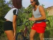 Cute cyclist fucks a good samaritan