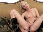 Blonde with small tits plays with sex toy