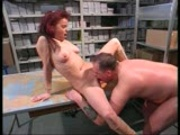 Redhead and blonde host play with guys dick