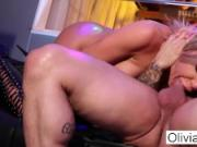 Stacked blonde stripper takes on a customer in the VIP