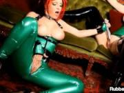 Hot Latex Babes RubberDoll & Shae Fatale Fuck With Flogger!
