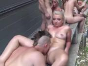 Naughty orgy with hot blonde chicks