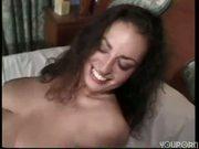 Big tittied brunette has a hairy beaver(clip)