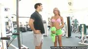 Busty blonde babe fucks her trainer