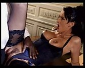 brunette in lingerie take a black cock in ass anal troia