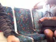 Dark chocolate legs on the train