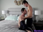 Handsome jock swallows and bounces on hard dick like a pro