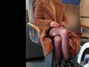 Sexy pantyhose legs on train