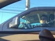 Voyeur: Blonde watches flasher in traffic