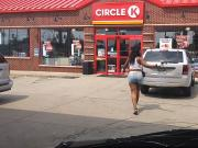 BIG black azz in booty shorts at the gas station