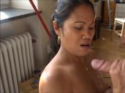 Asian filipina handjob and blowjob with cumshot on tits
