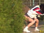 Teens urinate in public