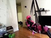 Sissy self bondage swing