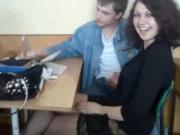 Russian girl jacks off her friend in class!