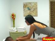 Asian spycam masseuse caught tugging and riding