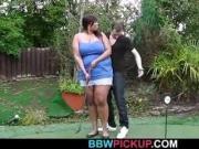 Slim guy banged ebony fatty from behind