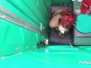 Porta Gloryhole Mature Redhead slurping cocks