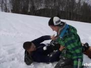3 young guys on a snowboard holiday having 3-way fun