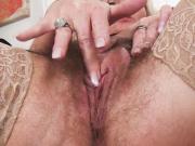 Hot hairy granny masturbating