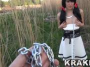 Krakenhot - Submission of a chained brunette teen outdoor