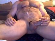 Hairy hung muscle daddy cums