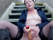 Small titted milf suzy toying outdoors