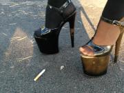 Lady L walking with extreme high heels and smoking.