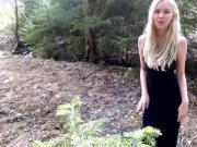 Solo masturbation in forest